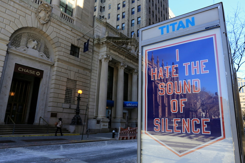 """I HATE THE SOUND OF SILENCE"" by Cheryl Pope for Art in Ad Places. Brooklyn, NY. 2017. Photo by Luna Park. (curator/project manager)"
