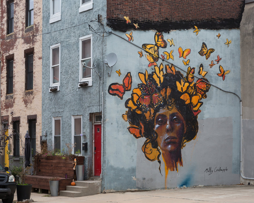 No Borders by Molly Crabapple for the We the People series with Mural Arts Philadelphia. Philadelphia, PA. 2017. Photo by Steve Weinik. (curator)