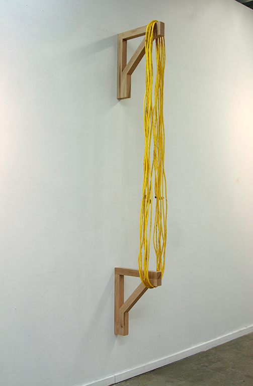 "Untitled,    Red Oak, Extension chord    14"" x 8"" x 72"""