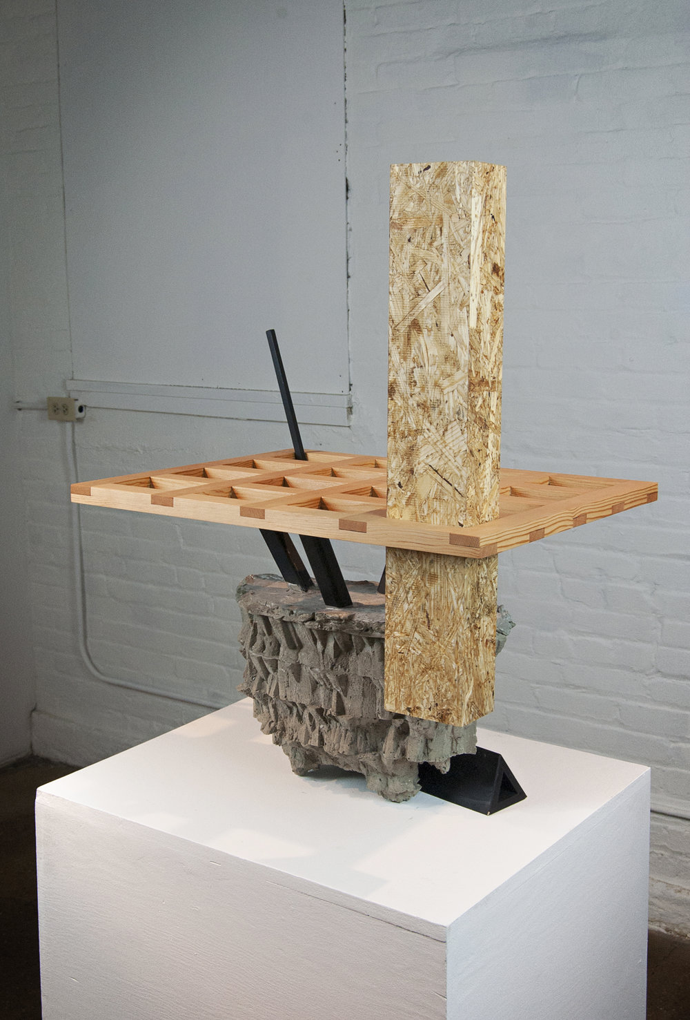 Untitled,  2017   Pine, OSB, Concrete, Steel, Plywood  Variable size
