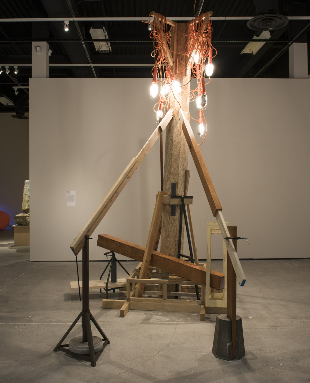 City Beautiful   2017  OSB, Concrete, Various Woods, Steel,  Work Lights, Plaster, C clamp. Dimensions Variable  Exhibition view at Ringling Museum of Art, Sarasota FL  http://www.skywaytampabay.com/