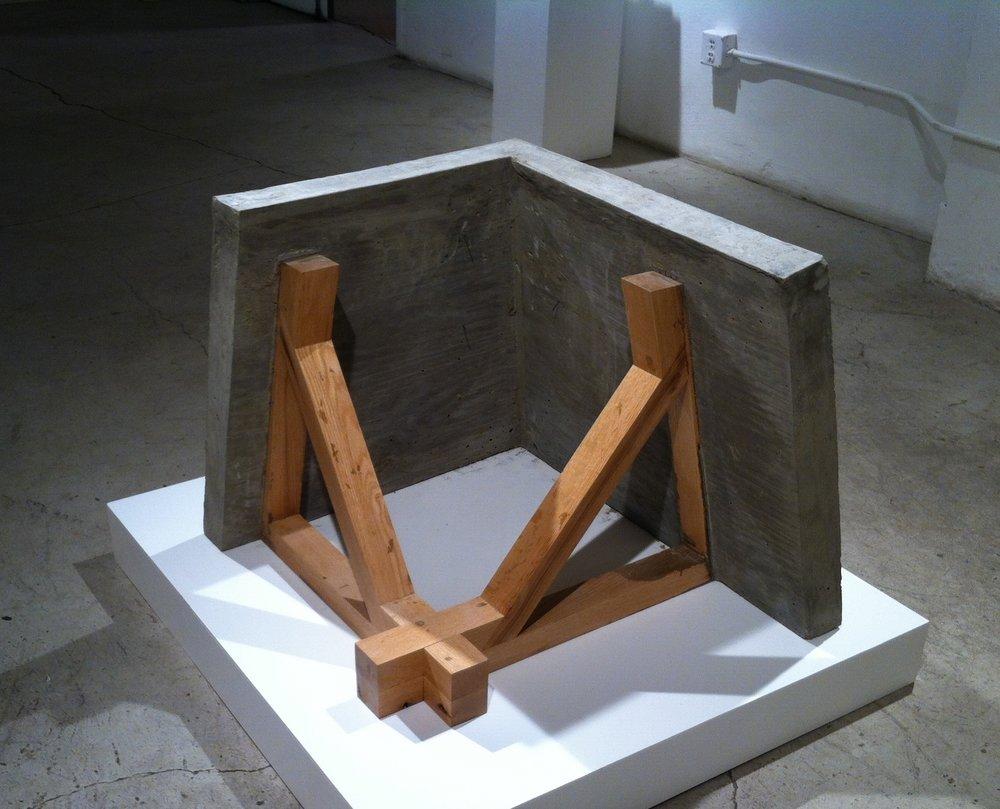 "Untitled  2014 Red Oak, Concrete,Wire 28"" x 28"" x 24"""