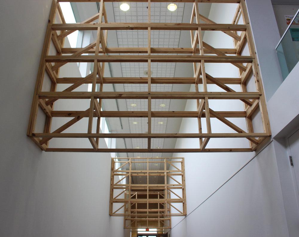 Restructure , 2017  Site Specific Installation, Pine, Construction Screws  Florida Atlantic University, Boca Raton FLA