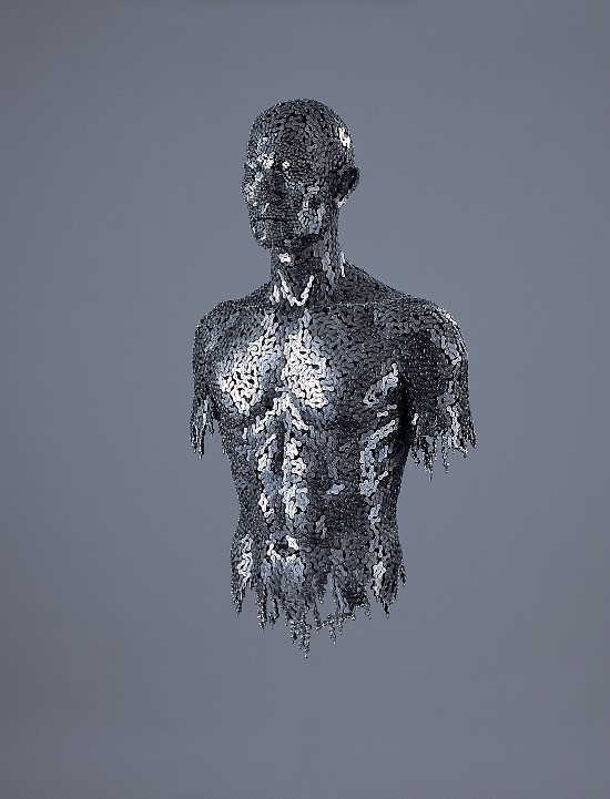 darksilenceinsuburbia: Yeong-Deok Seo. Korean artist Yeong-Deok Seo creates imposing figurative sculptures using tightly knit configurations of welded bicycle chains and industrial steel chains. While impressive in their intricacy and the apparent skill required to create them, the artwork's titles such as Infection – Anguish, Infection – Ego, and Addict, suggest the rippled surface created by the materials is not an arbitrary decision. These are figures of individuals in dispair, pockmarked with disease, the chains acting as a metaphor for the human condition. See much more of Seo's work spanning the past several years here. (By Christopher) http://blog.naver.com/duck8383