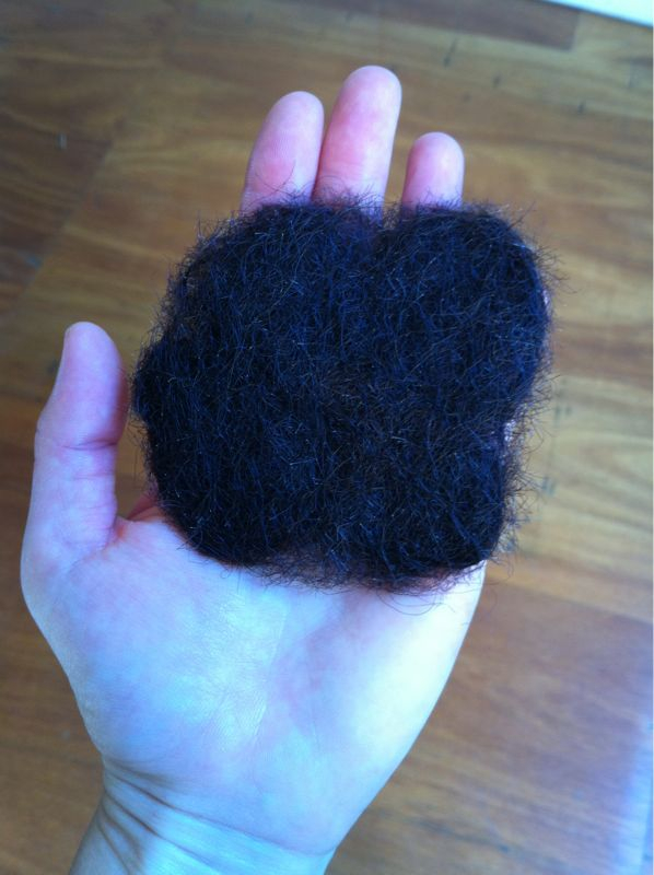 Just finished felting my own hair. First attempt. I've got mixed feelings about this: disgusted yet proud and excited. The project has just started…