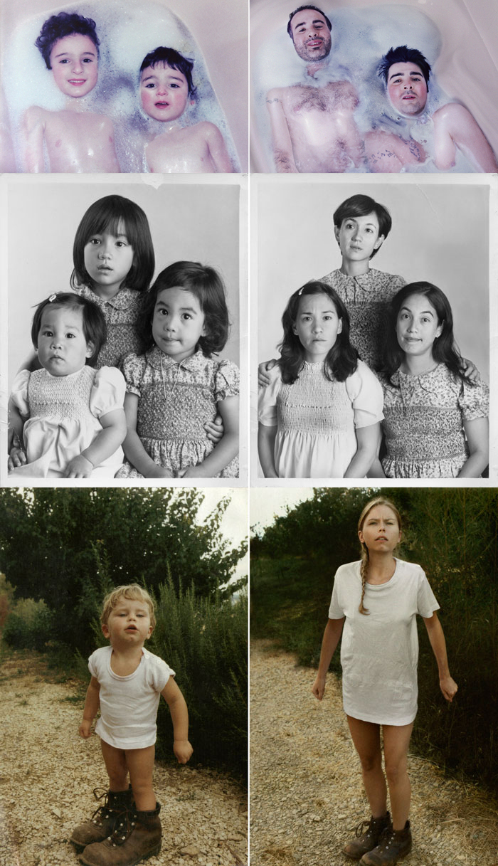 photojojo: Irini Werning's childhood photo recreations are SPOT ON. Back to the Future by Irina Werning p.s. Recommend us for the directory today!
