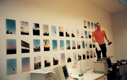 via  jennilee :     wolfgang tillmans installing the concorde series at taschen publishing (1999)