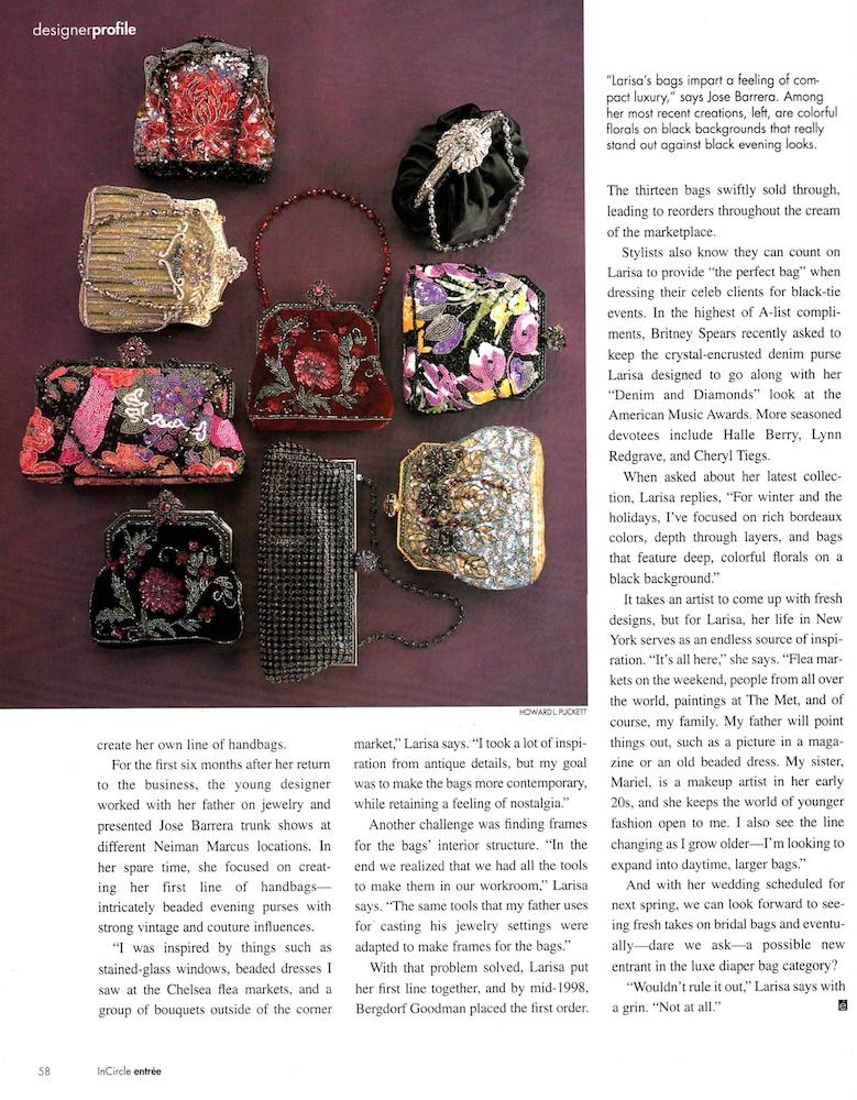 Neiman Marcus Entrée Magazine Designer profile