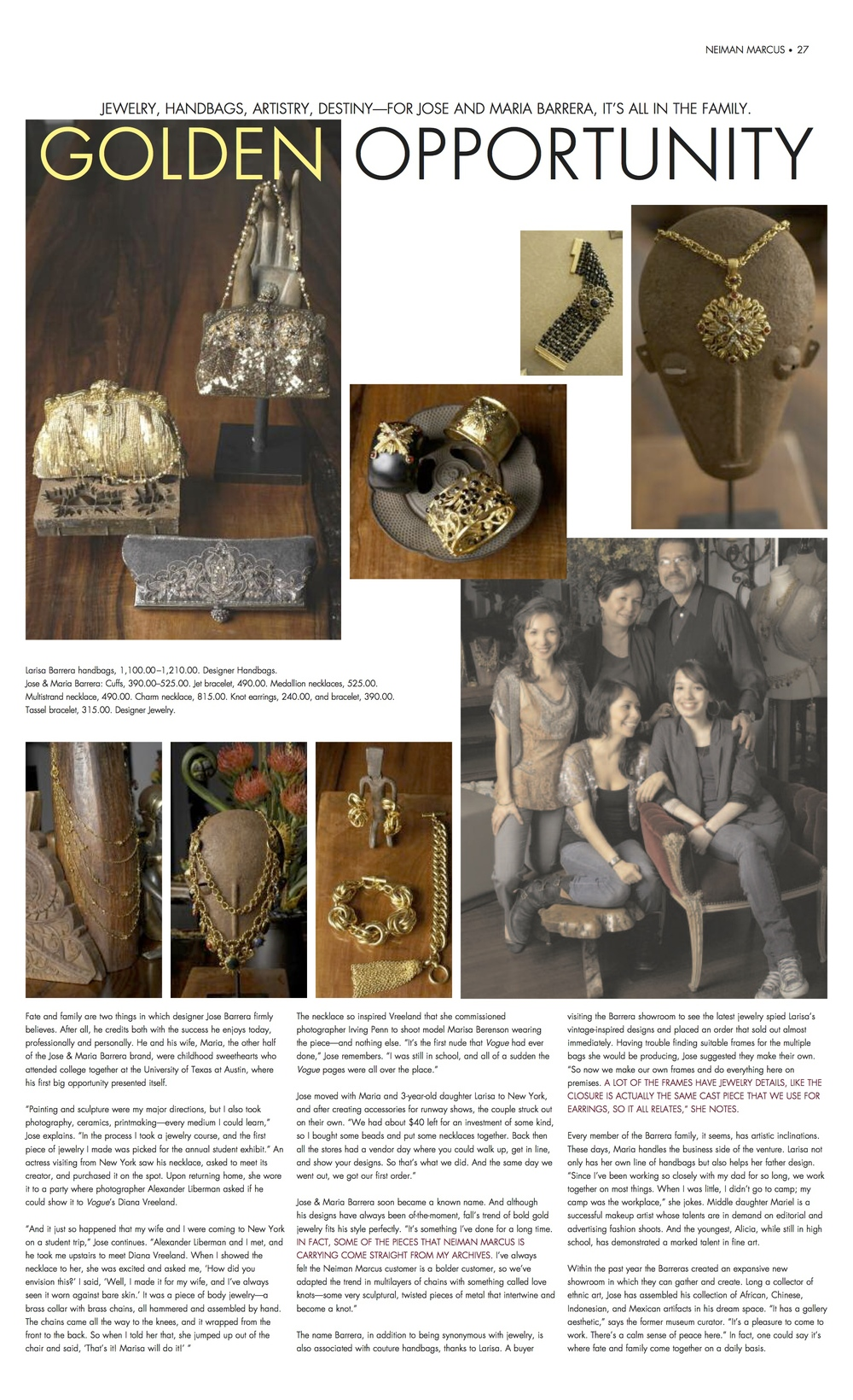 Neiman Marcus Fall 2006 -article on the Barrera family Business
