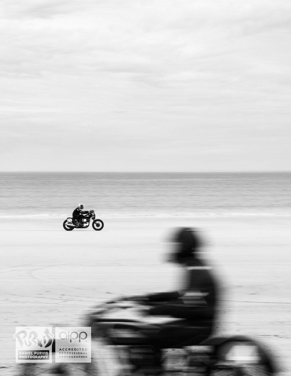 (142) Charlie Palmer tearing up the beach on a 1937 1200cc Harley-Davidson. © Daniel Purvis