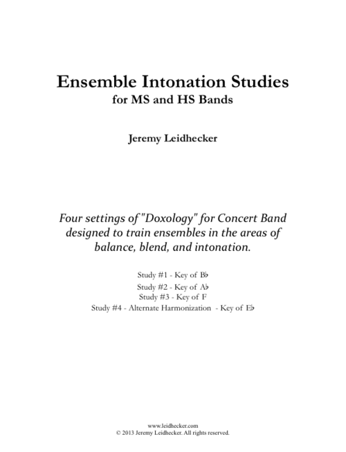 Ensemble Intonation Studies For Ms And Hs Bands 2013 Leidhecker