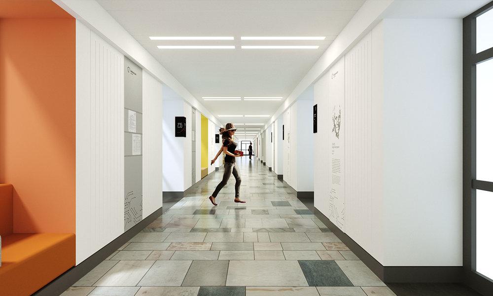 Типовой коридор. Сохранение существующего мраморного пола