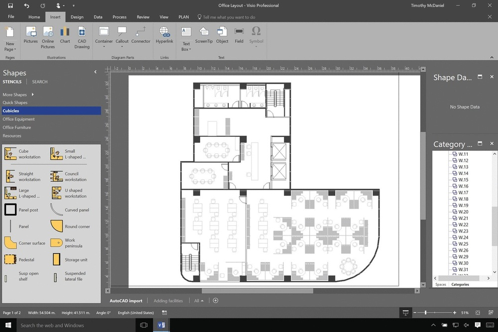 Visio can help you add smart shapes and data visualization on top of AutoCAD floor plans.