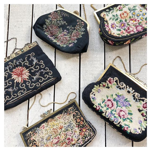 We have so many lovely petit point and tapestry purses in the showroom. These are among the floral beauties🌹🌺❤️ . During the Victorian, Edwardian eras and the early 20th century, hand-worked petit point became a specialty around Europe. Petit point handbags were worked in superb wools and silks, depicting flowers, landscapes, and scenes from mythology to courtship. Tapestry handbags, both hand and machine woven, were often constructed from earlier tapestry cloth. This was especially the case during WWII when resources were scarse. Even if one had little to carry, purses were an important accessory for promoting and preserving style.