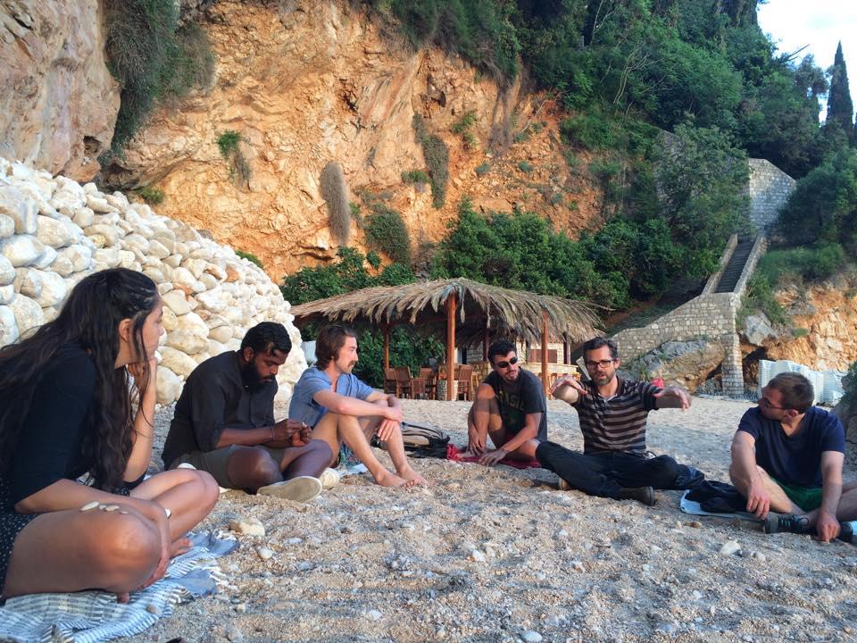 Evening meeting on the beach.