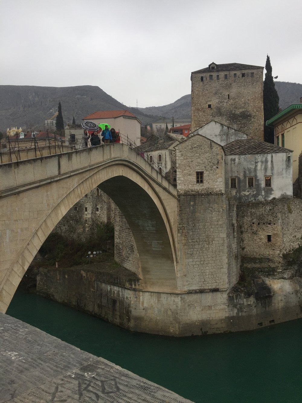 Enjoying Mostar in the rain