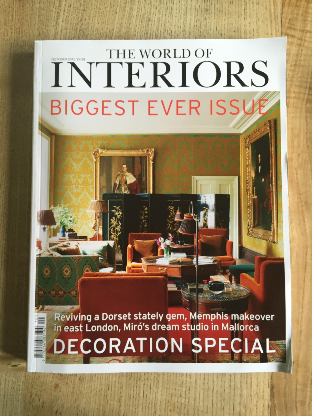 Our wallpaper has made it to the front cover of World of Interiors ...