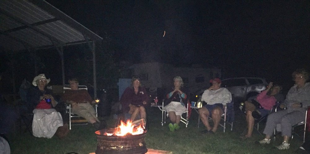 And, of course, we ended each day watching the campfire and chatting. Thanks to Carolyn Wise and her galant Mister Wise for all they did to make this weekend as fabulous as it was!