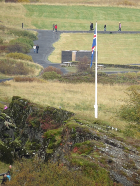 This flagpole is thought to be the place where the Lawspeaker would stand to read out the laws to the people at the The Althing (Icelandic: Alþingi)