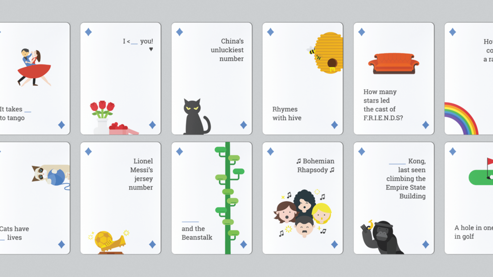 Card fronts that showcase a regular set of playing card deck. However, for this deck of Google cards, the user needs to use Google Search to find out what number or card it is. For example: Card 1 on top left corner shows a couple dancing with the phrase, 'It takes _ to tango'. Google Search results would return, 'It takes  2  to tango'.