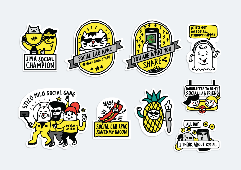 Google Social Summit 2017 Illustrated Stickers.