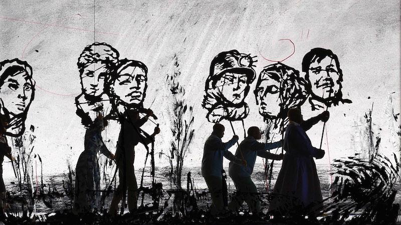 William Kentridge ,  More Sweetly Play the Dance , 2015. Copyright William Kentridge  Courtesy the artist and Marian Goodman Gallery, New York, Paris & London