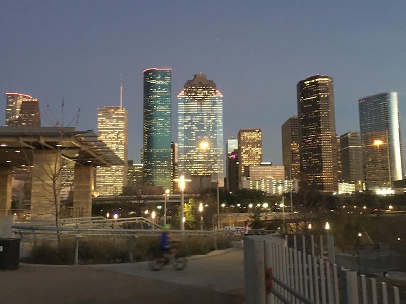 Night time photo of downtown Houston Texas
