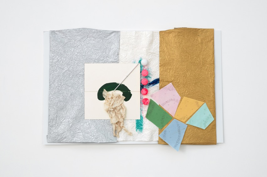 Richard Tuttle,  Pressing: Hole in the Head, VII  2015-2016. Styrofoam, metal, colored felt, heat-sensitive quilting backing, fabric paint, white glue, bond paper, enamel paint, acid-free museum mount board, metallic paper, acrylic, day-glo gouache, nails 64.8 x 92.1 x 5.1 cm, 25 1/2 x 36 1/4 x 2 1/8 ins. Courtesy Stuart Shave/Modern Art, London