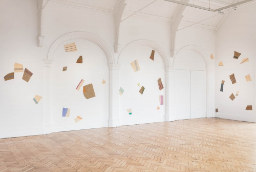 Installation view of Giorgio Griffa: A Continuous Becoming, Camden Arts Centre, 2018. Photo: Mark Blower
