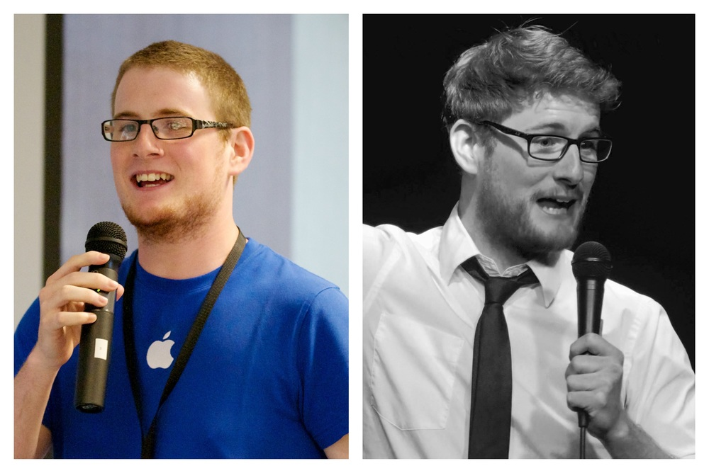 Left: Delivering training to Apple employees. Right: Delivering jokes to strangers.