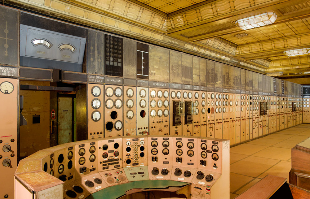 Battersea Power Station control room, photographed by Peter Dazeley