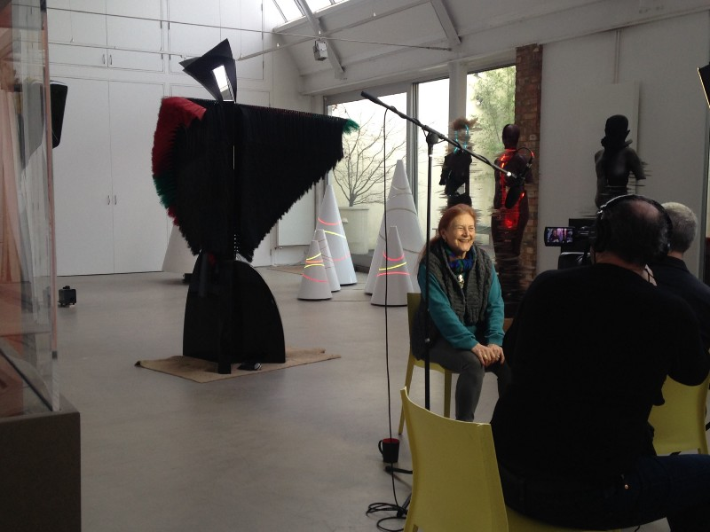 Artist, Liliane Lijn being filmed for Art360