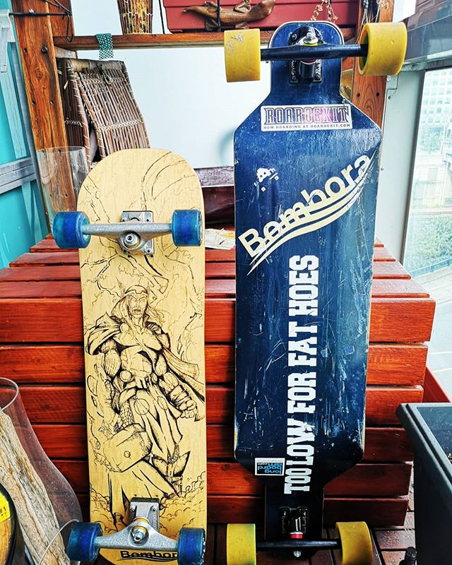 Seen here. The first ever #Bomboraboards deck on the right and the first ever Bombora #htfu on the left . Show us your #vintagebombora at todays#torontoboardmeeting and we might just hook you up with some swag