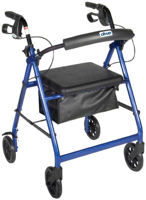 Drive Medical Aluminum Rollator with Fold Up and Removable Back Support.