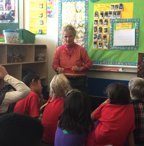 Storytelling in a first grade class at Harvey Milk Civil Rights Academy,  San Francisco,