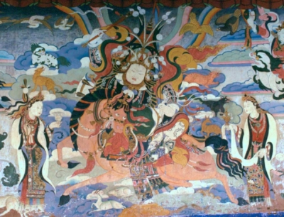 "Tales from Tibet | Tales of Gesar:  Adventures of the great Tibetan spiritual hero Gesar and his beloved wife Brougmo (told in 13 stories).  The Milarepa Cycle: True spiritual folktale of a youth who commits murder, and then slowly transforms into Tibet's most beloved saint (told in 11 stories).  Image: ""Gesar of Tibet mural"", public domain via Wikimedia Commons."