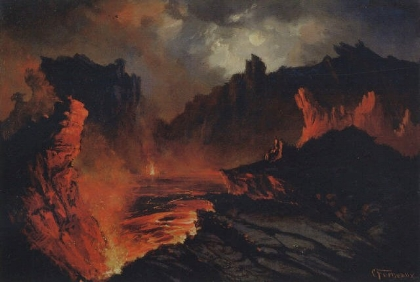 "Hawaiian Legends | The story of Pele, the goddess of volcanoes; thought to be the creator of volcanoes on the Hawaiian islands. As legend goes, Pele lives in the crater Halemaʻumaʻu at Kilauea, on the island of Hawaii.  Image: ""Kilauea"", oil painting by by Charles Furneaux, c. 1880s-1890s. Public domain via Wikimedia Commons."