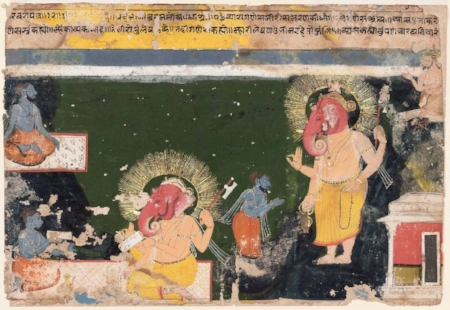 "Indian and Hindu Mythology | The Mahabharata: The epic story of five brothers and their wife, and a battle between kinsmen that almost destroys the world (told in 12-14 stories). The Ramayana: The story of the god-hero Rama and his wife Sita, and the demon king Ravana who abducts Sita (told in 14-16 stories).  Tales of Krishna: Stories of the beloved blue god-hero from his childhood through young manhood (told in 8 stories).  Image: ""Ganesh writing the Mahabharata"", public domain via Wikimedia Commons."