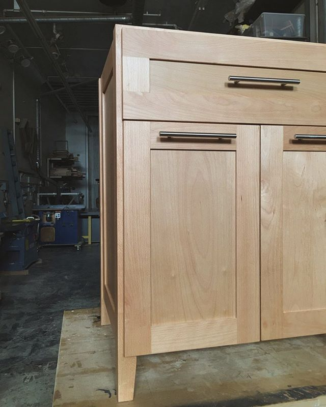 Custom kitchen island, now with real drawer fronts