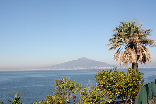A view of the towering Vesuvius from Sorrento