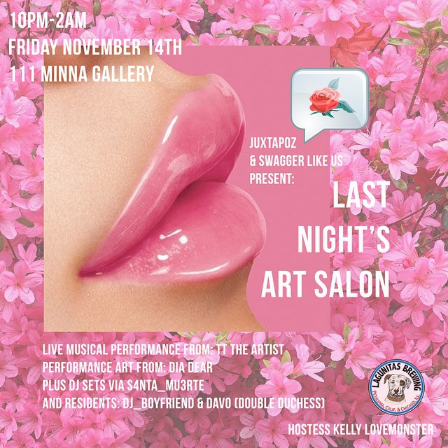 Juxtapoz Mag x Swagger Like Us  Present Last Night's Art Salon // TT THE ARTIST // DIA DEAR // DJ S4NTA_M3RTE // 111 MINNA GALLERY // NOV 14 🎉 #linkinbio