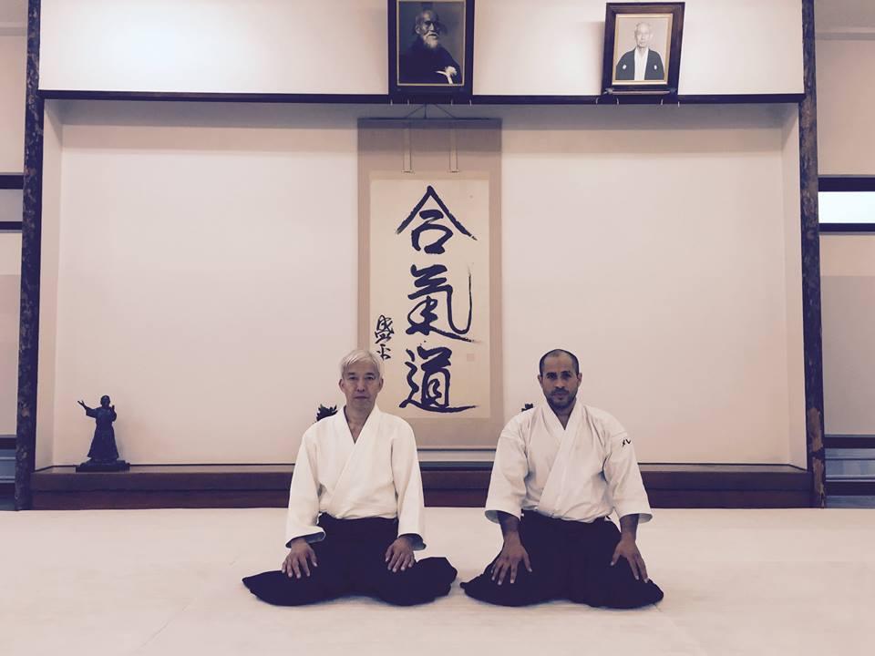 Moriteru Ueshiba og Sensei Merea i Hombu Dojo