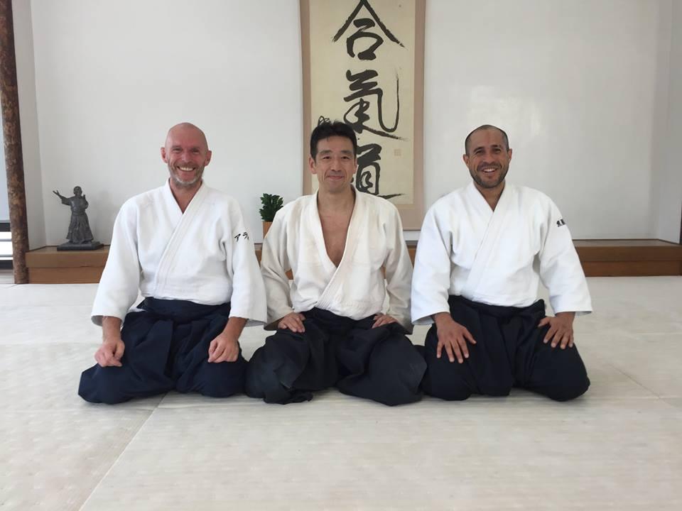 Sensei Merea sammen med Alain Dujardin og Jihwang Yoon i Hombu Dojo