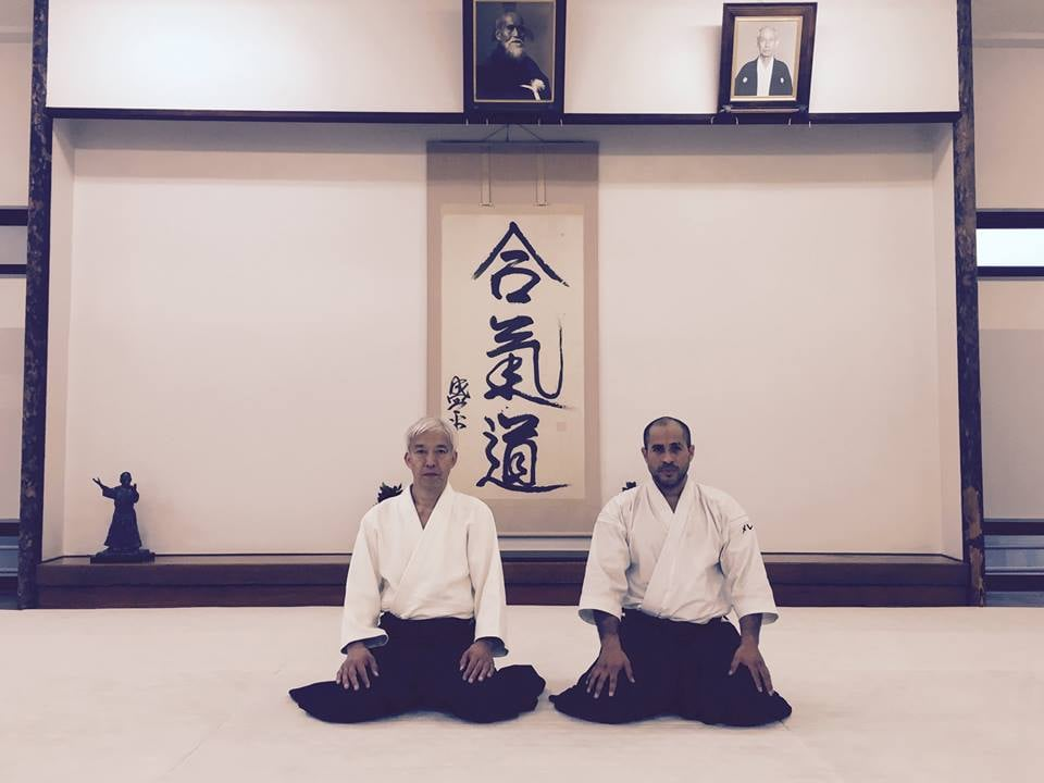 Moriteru Ueshiba og Sensei Merea i Hombu Dojo, oktober 2015.