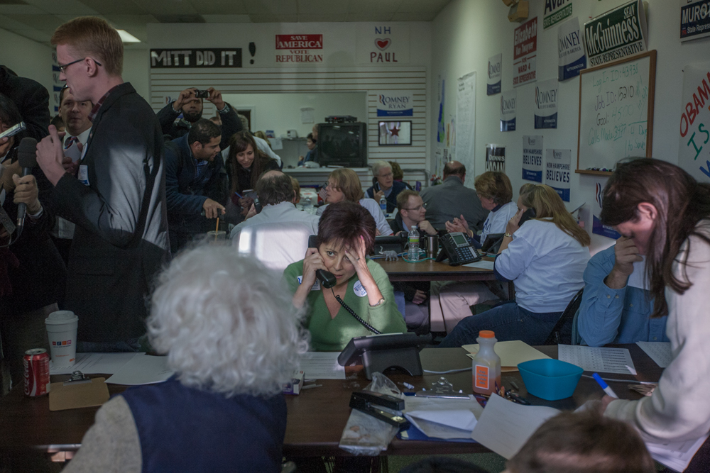 Campaign staff and volunteers make a final push for Republican Mitt Romney.