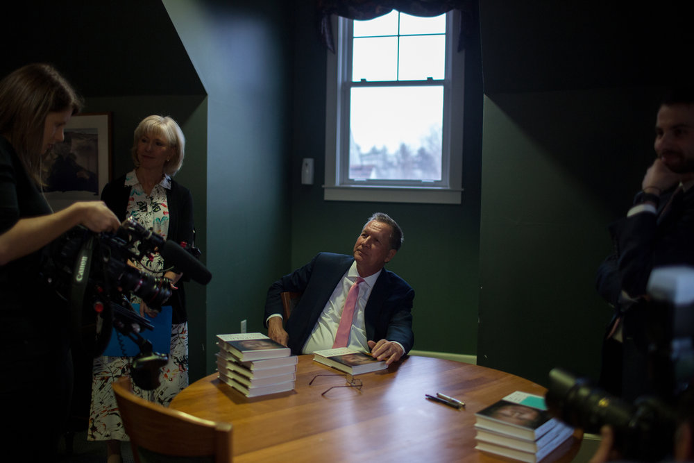 Ohio Gov. John Kasich participated in a meet-and-greet, where he signed copies of his latests book, before addressing an audience of residents, students, and state politicians Tuesday, April 3, 2018 at New England College in Henniker, N.H. In a 2016 bid for president, Kasich finished second in the state's primary.John Tully for The New York Times