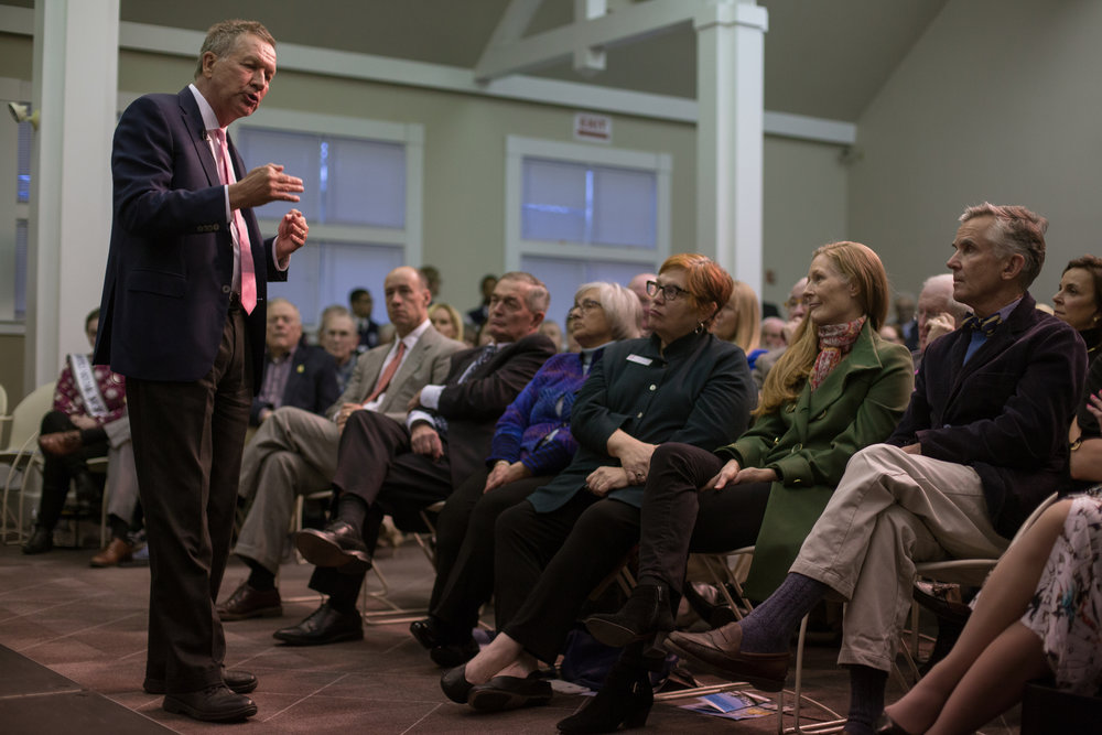 Ohio Gov. John Kasich spoke to an audience consisting of residents, students, and state politicians Tuesday, April 3, 2018 at New England College in Henniker, N.H. In a 2016 bid for president, Kasich finished second in the state's primary.John Tully for The New York Times