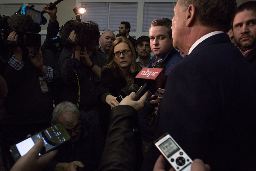 Ohio Gov. John Kasich speaks with members of the press and audience after addressing an audience of residents, students, and state politicians Tuesday, April 3, 2018 at New England College in Henniker, N.H. In a 2016 bid for president, Kasich finished second in the state's primary.John Tully for The New York Times