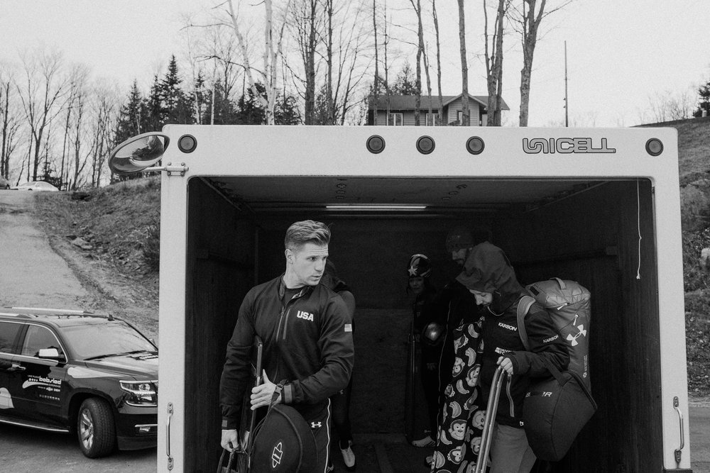 Two-time Olympian in the skeleton, John Daly, from Smithtown, New York, unloads back onto the starting platform in between training runs. Olympic veterans and hopefuls in bobsled and skeleton gathered in Lake Placid, New York leading up to the World Cup Bobsled and Skeleton races held November 9-10, 2017. Results from Lake Placid, one stop along the circuit, will help determine teams for the 2018 Winter Olympics in Pyeongchang, South Korea.