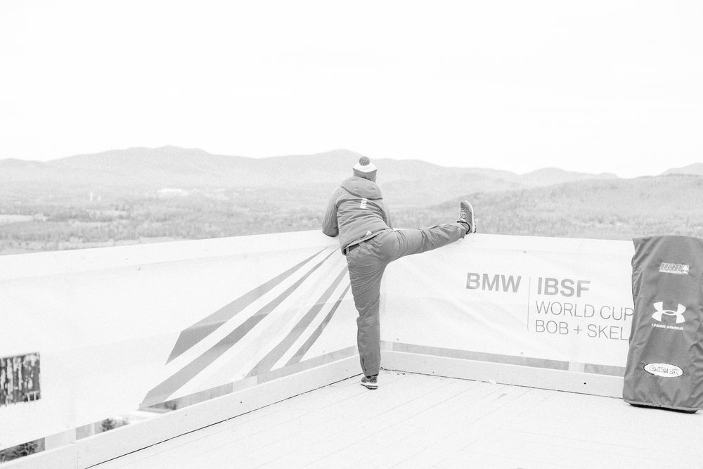 A skeleton racer from Russia warmed up before practice runs. Olympic veterans and hopefuls in bobsled and skeleton from countries around the world gathered in Lake Placid, New York leading up to the World Cup Bobsled and Skeleton races held November 9-10, 2017. Results from Lake Placid, one stop along the circuit, will help determine teams for the 2018 Winter Olympics in Pyeongchang, South Korea.